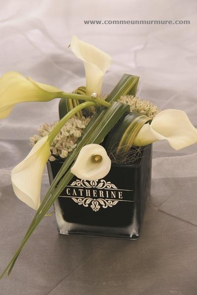 Photophore personnalisé avec décoration florale